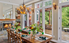 Wallpaper Windows, dining room, table, chandelier, flowers
