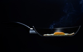 Picture macro, background, smoke, food, the cut, couples, scrambled eggs, pan, pan