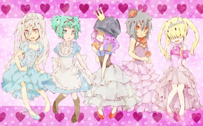 Picture crown, hearts, guys, dresses, Princess, ruffles, arcobaleno, reborn, Katekyo Hitman Reborn!, Shark Superb, Tutor Hitman …