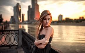 Picture city, river, model, Ksenia Kokoreva