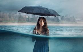 Wallpaper the situation, rain, girl, water, umbrella