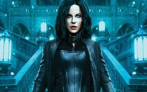 Wallpaper girl, castle, fiction, brunette, lights, costume, ladder, Kate Beckinsale, vampire, Kate Beckinsale, in black, Selene, ...