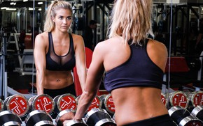 Wallpaper dumbbells, mirror, gym, model, gym clothes, Gemma Atkinson, look