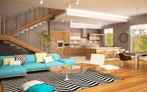 Picture design, style, table, sofa, carpet, kitchen, ladder, mansion, Design, living room, Interior