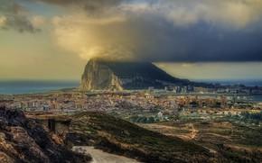 Wallpaper rock, panorama, clouds, landscape