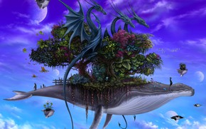 Picture animals, vegetation, planet, three dragons-contrast small, Dragons on Whales