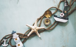 Picture summer, background, rope, boat, compass, Morska Zvezda, sea, anchor