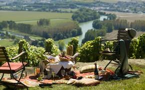 Picture nature, river, wine, picnic