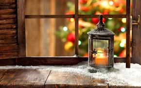 Wallpaper window, tree, snow, holiday, lantern