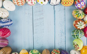 Picture eggs, Easter, Holiday, wooden background