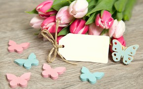 Picture butterfly, flowers, bouquet, tulips, pink, pink, flowers, romantic, tulips, spring