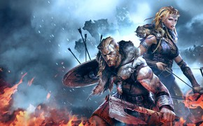 Picture girl, woman, wolf, bow, viking, shield, arrow, bishojo, axa, Vikings: Wolves of Midgard