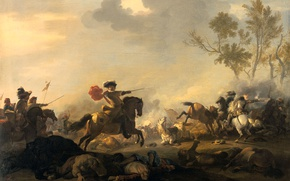 Wallpaper picture, battle, genre, Kavaleriiskaya Battle, Jan van Huchtenburg