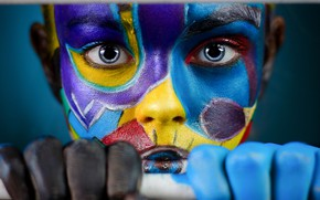 Picture look, girl, face, hands, colorful, paint, Ivan Kovalev