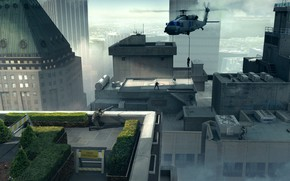 Picture the city, building, roof, helicopter, John Wick VR Sniper Shot