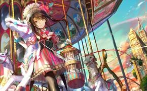Picture anime, art, girl, carousel