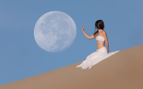 Wallpaper sand, the sky, hand, girl, the moon, dunes