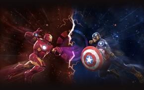 Picture the opposition, art, battle, Iron Man, Captain America, superheroes, MARVEL