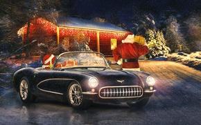 Picture winter, retro, holiday, new year, Corvette, classic