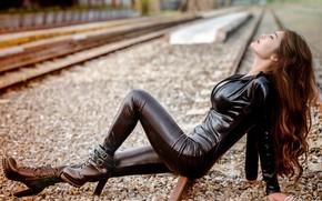 Wallpaper railroad, girl, style