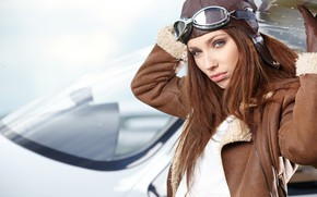 Wallpaper bokeh, makeup, pilot, Izabela Magician, beauty, brown hair, portrait, pose, gloves, the plane, glasses, hairstyle, ...