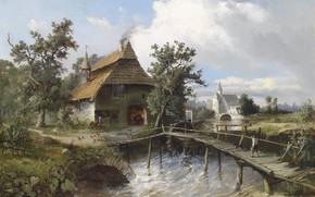 Wallpaper Art, House, Landscape, Painting, Rustic