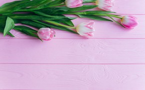 Picture pink, Flowers, bouquet, tulips, wooden background
