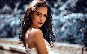 Picture girl, long hair, photo, photographer, blue eyes, model, bokeh, lips, face, brunette, portrait, mouth, tank …