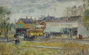 Picture picture, the urban landscape, Frederick Childe Hassam, Childe Hassam, The End Of The Tram Line. …