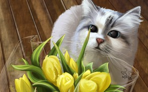 Wallpaper cat, bouquet, tulips