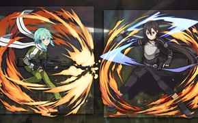 Picture collage, anime, two, kirito, Sword Art Online, sinon