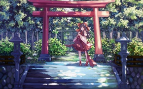 Picture foliage, fence, lights, ladder, temple, broom, bow, priestess, the bushes, Hakurei Reimu, Touhou Project, Project …