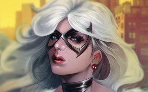 Picture girl, face, mask, art, marvel, Spider-Man, black cat