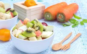 Picture fruit, carrots, Fruit salad
