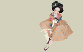Wallpaper art, Korean geisha, Siwo Believes Kim, geisha