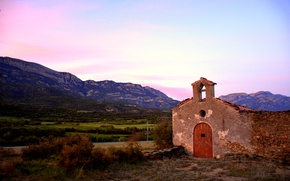 Picture twilight, sunset, mountains, dusk, Spain, Catalonia, The Régola, Montsec d'ares, Ager, Ermita de la Trinitat