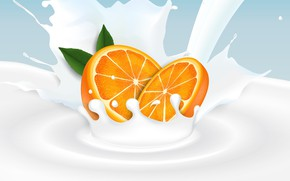 Picture background, orange, milk, citrus