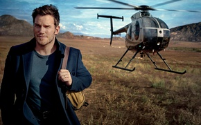 Wallpaper field, landscape, helicopter, actor, backpack, coat, Vanity Fair, Chris Pratt, 2017, Mark Seliger, Chris Pratt