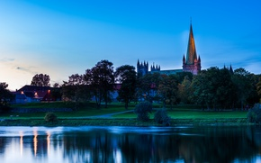 Picture river, the evening, Norway, Cathedral, Norway, Trondheim, Trondheim, Sor-Trondelag, Marine
