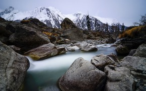 Picture mountains, nature, river
