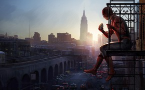 Picture the city, house, fiction, dawn, figure, bottle, height, package, art, costume, ladder, sandwich, comic, MARVEL, ...