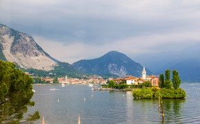 Picture clouds, trees, mountains, lake, rocks, shore, home, Italy, haze, Lake Maggiore
