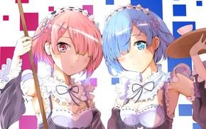 Picture girls, anime, art, REM, RAM, Re Zero Kara Hajime Chip Isek Or Seikatsu