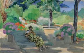 Picture landscape, picture, Henri Lebasque, Henri Lebacq, A young Woman with a Dove