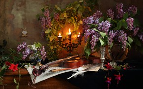 Picture violin, watch, candles, still life, lilac