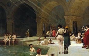 Wallpaper erotic, Jean-Leon Gerome, A large Turkish Bath in Bursa, interior