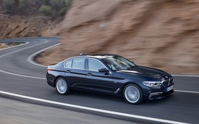 Picture movement, markup, BMW, sedan, mountain road, xDrive, 530d, Luxury Line, 5, dark blue, four-door, 2017, …