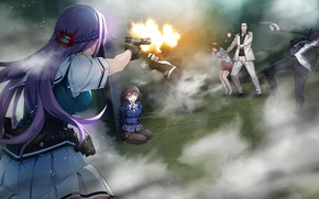 Picture girls, shooting, the bandits, hostage, Grisaia: Phantom Trigger