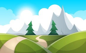 Wallpaper Rendering, Mountains, Figure, Trees, Forest, Path