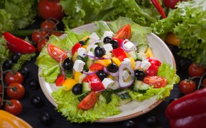 Picture cucumber, bow, pepper, vegetables, tomatoes, salad, olives, Greek, feta